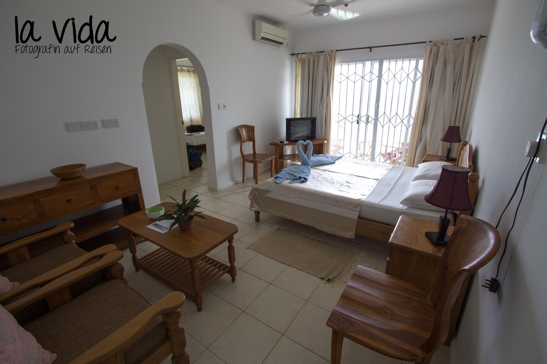 unser Zimmer im Guesthouse auf Mahé