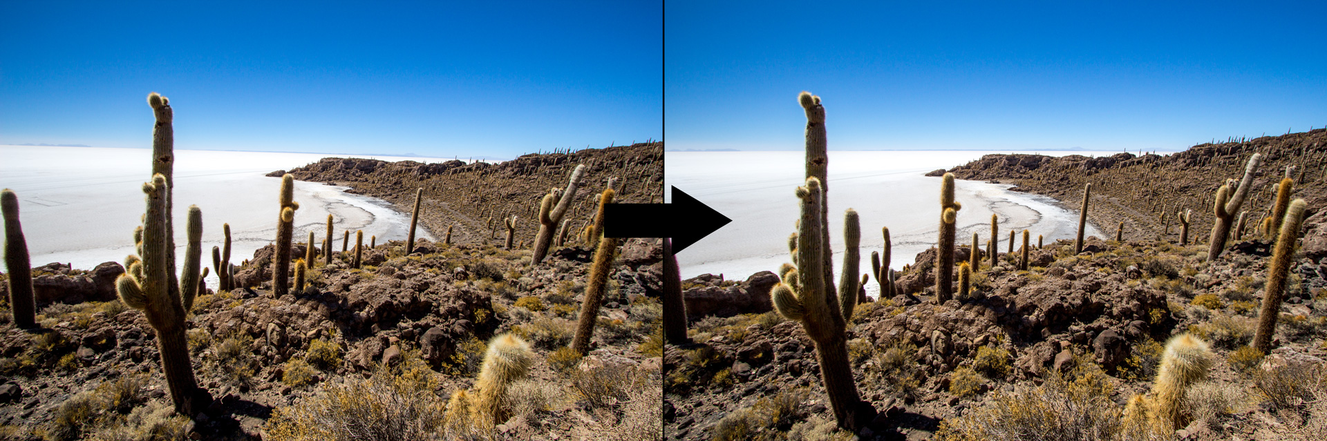 Bei diesem Foto vom Salar de Uyuni in Bolivien habe ich den Horizont korrigiert